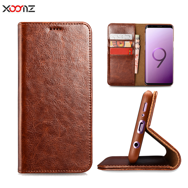 XOOMZ Luxury Brand PU Leather Cover for Samsung S9 case Coque Soft Leather Carbon Case for Samsung Galaxy S9 Plus Fundas Capa