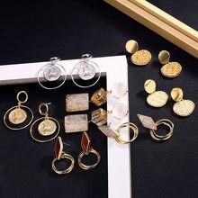 50bab247044bf Ailend de moda en forma de corazón de tejido pendientes mujeres retro  lentejuelas de oro pendientes declaración de la joyería