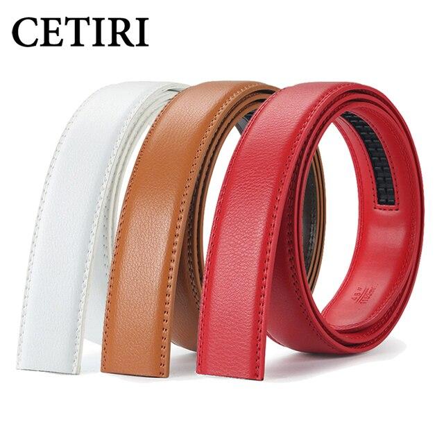 de244b7931182a CETIRI geniune ceinture en cuir hommes rouge sans boucle ceintures  automatiques body fit ceinture à cliquet
