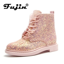 Fujin Band Pu Leather Sequins boots Biker Shoes Women Lace Up Snow Boots Square Heels Autumn Winter Ankle Boots Fashion Shoes