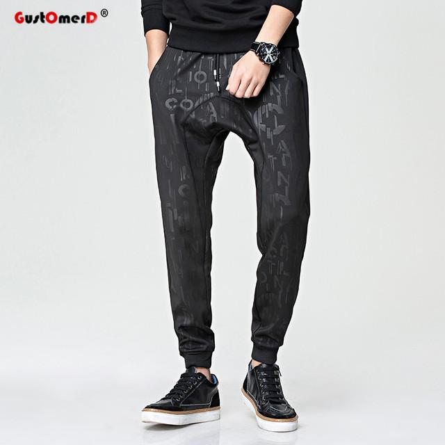 Gustomerd 2017 nova marca de moda de fitness solto impressão de alta qualidade calças dos homens casuais esportivas calças dos homens hip hop calças harém