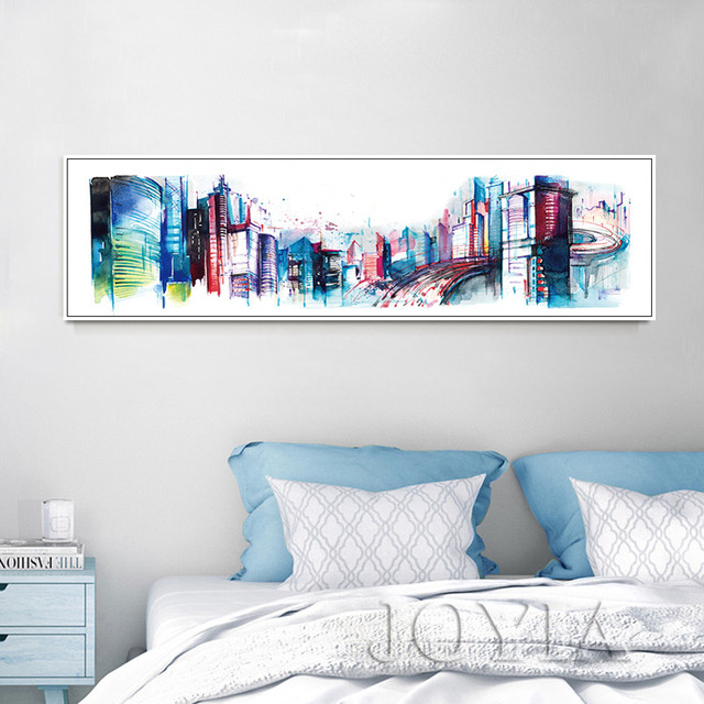 Panorama City Architecture Metropolis Wall Art Picture, Abstract Paintings  Watercolor Buildings Canvas Print Home Office