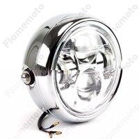 Chrome LED 6 5 Motorcycle Bike Projector Headlight Bracket For Cafe Racer SX650 CB Bobber Chopper