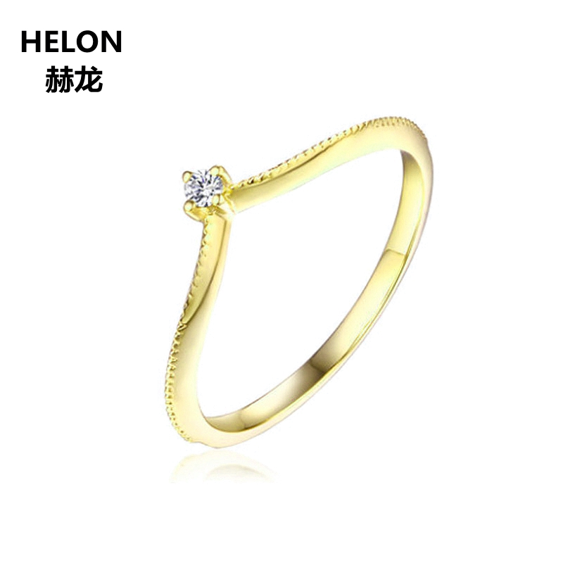 Solid 14k Yellow Gold Wedding Band Millgrain V Shape Trendy Anniverwsary Jewelry SI/H Full Cut Natural Diamonds Engagement Ring solid 14k white gold engagement ring for women 100% si h natural diamonds wedding band millgrain v shape trendy jewelry