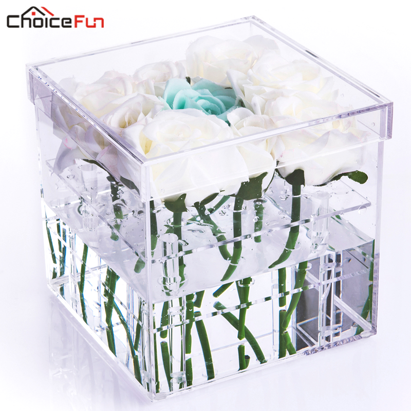 CHOICE FUN Luxury 100% Acrylic 9 Holes Clear Plastic Gift Preserved Rose Box Square fresh Lucite Acrylic Flower Box With Lid