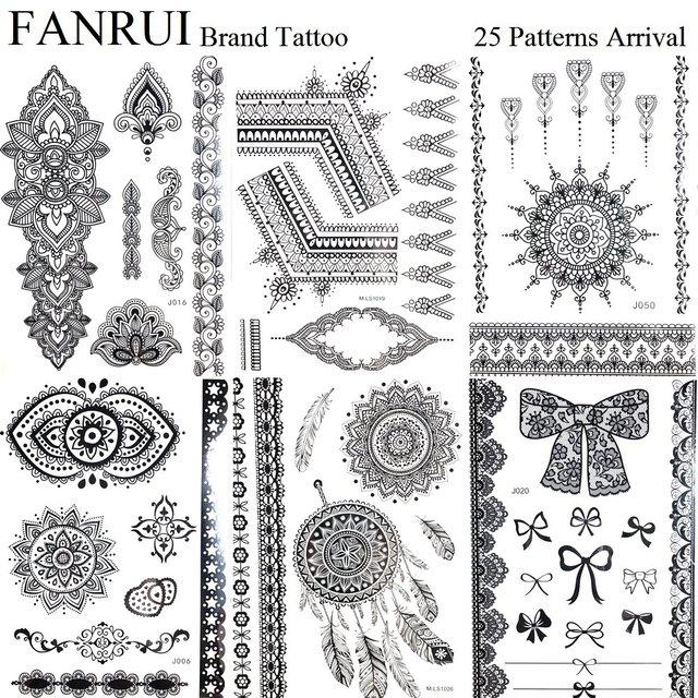 Henna Lace Bracelet Temporary Tattoo Sticker: 25 Style Black Lace Henna Mandala Temporary Tattoo Girls