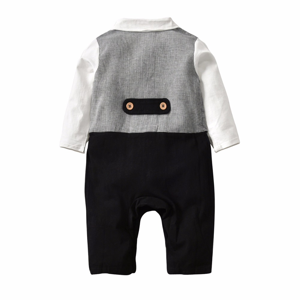 2018 Onesie Baby Black White Plaid Gentleman Romper Turn-down Collar Jumpsuit With Bow Tie Long Sleeve Baby Boy Jumpsuit Spring
