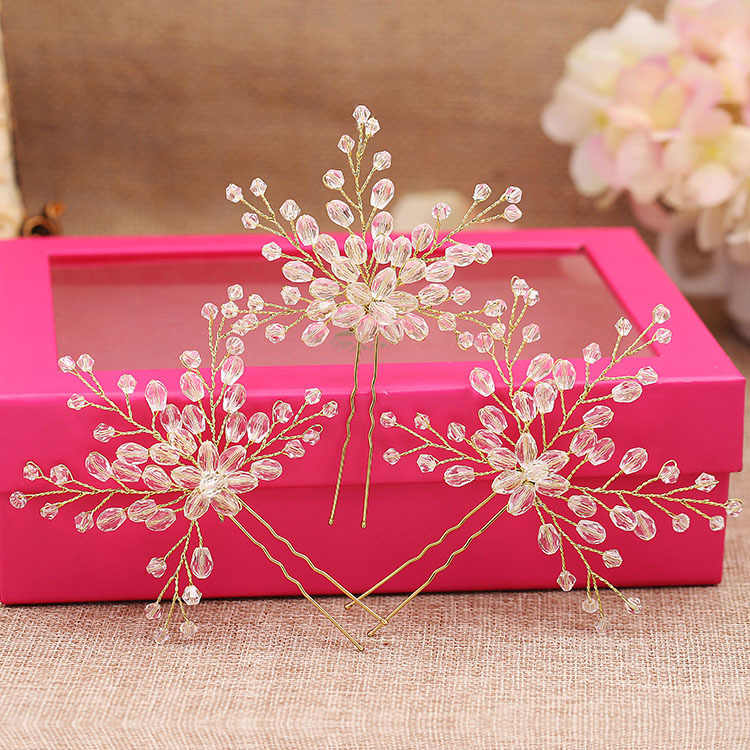 1 PCS Large Handmade Crystal Flower Wedding Hair Pins Bridesmaid Beads Hair Pieces Vine Hairpins Bride Hair Jewelry Accessories