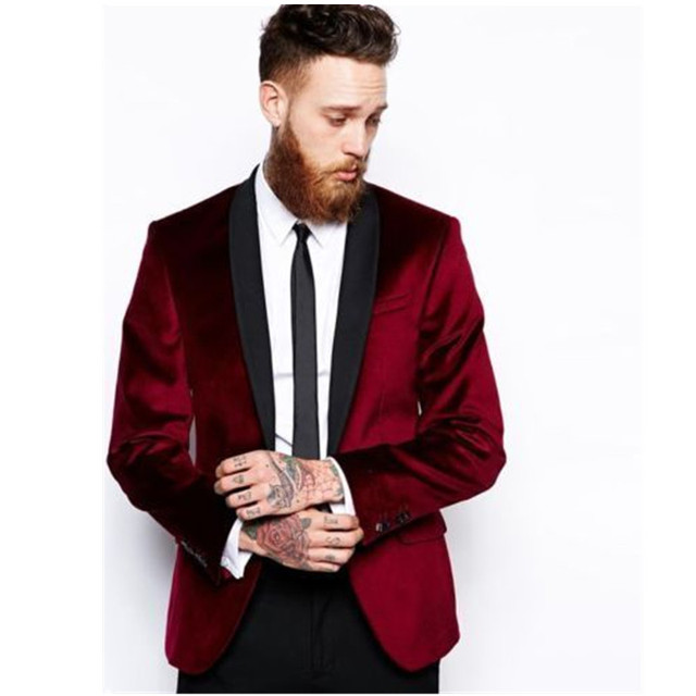 Мужская мода костюмы бархат воротником мужчины свадебное платье жених, держит куртка нестандартного размера цвет