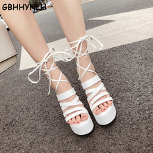 GBHHYNLH Platform shoes Punk Sandals Women Peep Toe Chunky heels Block High Heels lace up white Sandals block heel sandal LJA732 rivet peep toe chunky heels