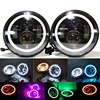 7 Inch Round LED Projection Headlight H4 H13 DRL Angel Eyes For Offroad Jeep Wrangler Hummer