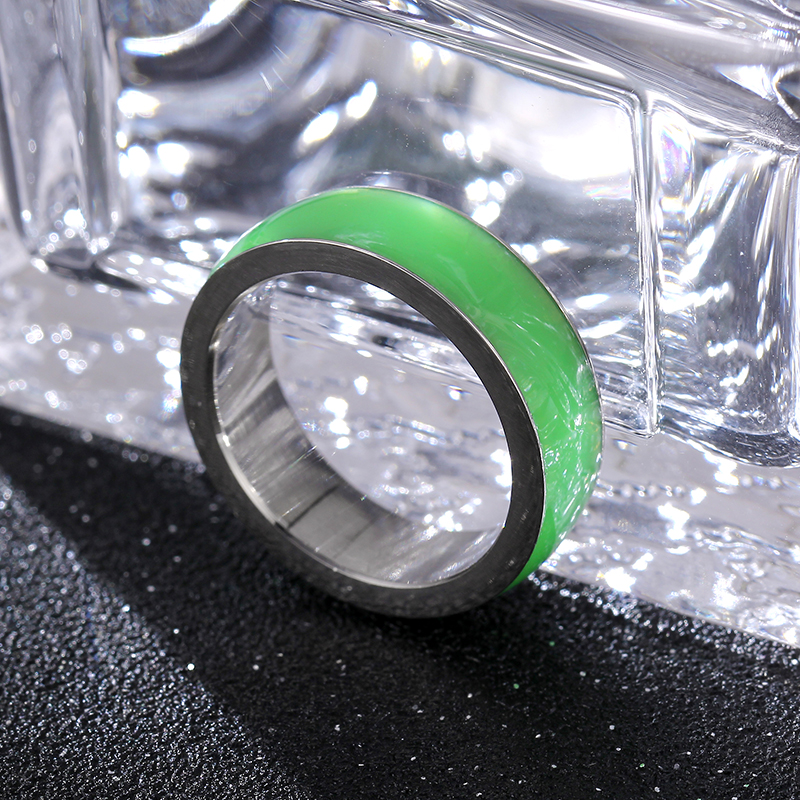 6mm 316L nerūsējošā tērauda gredzens vīriešiem un sievietēm Hot Movie Gredzeni Center Cool Green White Wide Men Ring JR2065