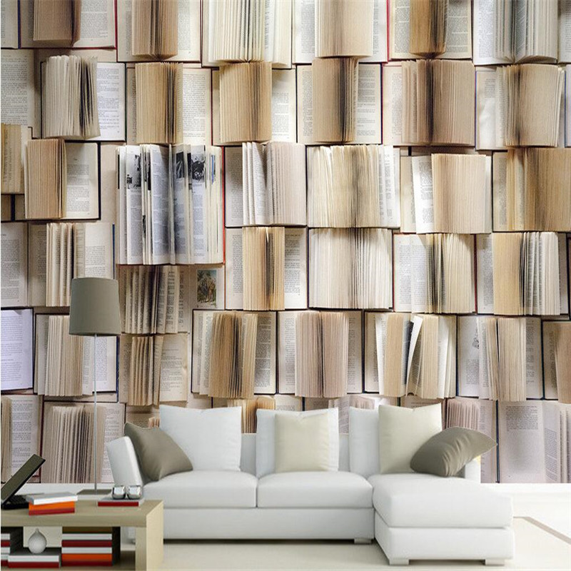Wall decor paper 3d hd full wall classic books opened the room living room cafe wall covering - Home decor books ...