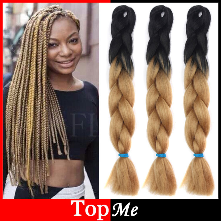 Afro ombre two tone xpression kanekalon braiding jumbo women hair afro ombre two tone xpression kanekalon braiding jumbo women hair braid folded 60cm black light brown synthetic hair extensions on aliexpress alibaba pmusecretfo Choice Image