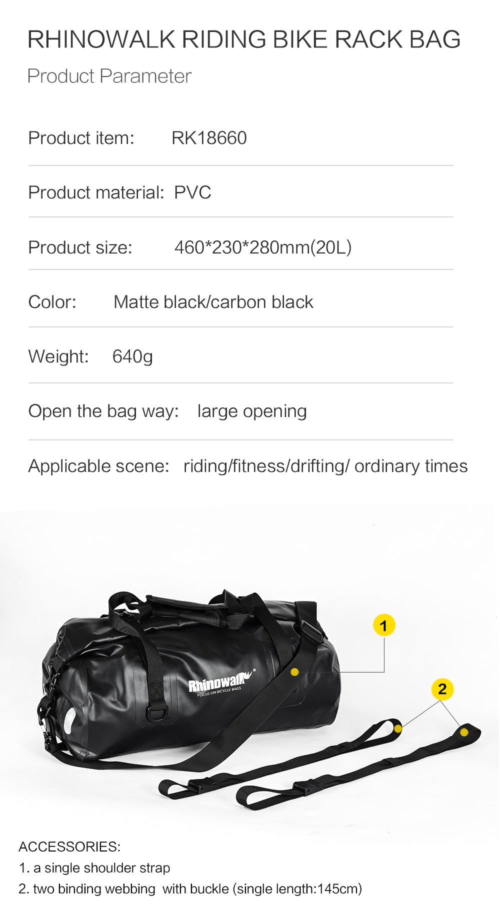Rhinowalk Bicycle Luggage Bags 20L Full Waterproof for Road Bike Rear Rack Trunk Cycling Saddle Storage Pannier Multi Travel Bag (9)
