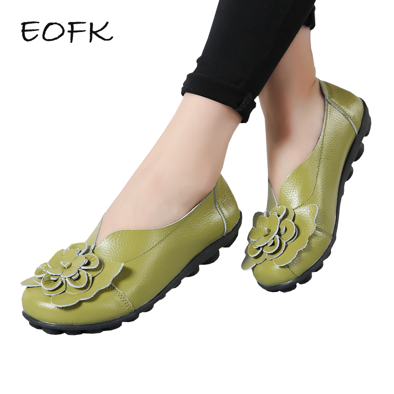 EOFK New Women Ballet Flats Women's Leather Shoes Woman Flat Shoes Casual Floral Loafers Soft Comfy Female Slip-Ons Plus Size 44 2018 new boat shoes sheepskin leather pregnant women shoes summer flat bowknots royal blue plus size 40 41 ballet flats female