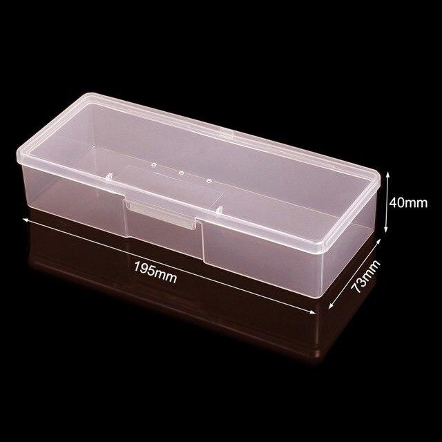 Monja Nail Art Rectangle Translucent Plastic Storage Box Nail Dotting Drawing Brush Pen Polishing Sponge Buffer Container Case 3