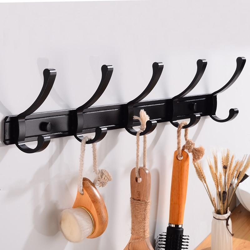 Image 3 - Robe Hook Bathroom Coat Hook Rack Aluminum Towel Hook Black Door Decorative Clothes Hook Hangers Wall Mounted Bath Accessories-in Robe Hooks from Home Improvement
