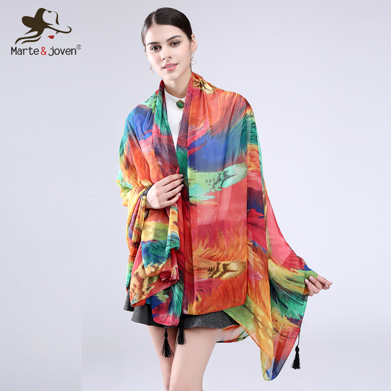 Marte & Joven Bohemia Style Colorful Rainbow Feather Scarves Magnífica Bandana Elegante Long Summer Pashmina Shawls For Woman