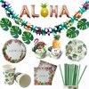 Guirnalda de hiedra de flamenco para fiesta hawaiana, conjunto de vajilla de papel de decoración de bodas, banderines de Aloha, decoración para fiesta de cumpleaños, Luau, Verano