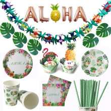 Flamingo Hawaiian Partito Ivy garland Decorazione di Cerimonia Nuziale di Carta Set Da Tavola Aloha Bunting Banner Estate Luau Festa Di Compleanno Decorazione(China)