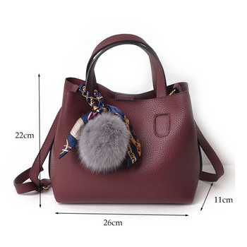 Litchi Pattern Leather Women Casual Handbag 5