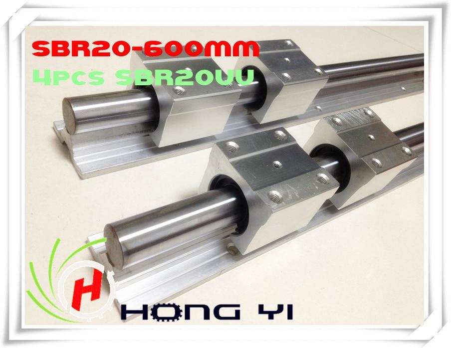 2 pcs SBR20 L = 600mm Linear Rails +4 pcs SBR20UU straight-line motion block for SFU2005 Ball screw (can be cut any length) цена