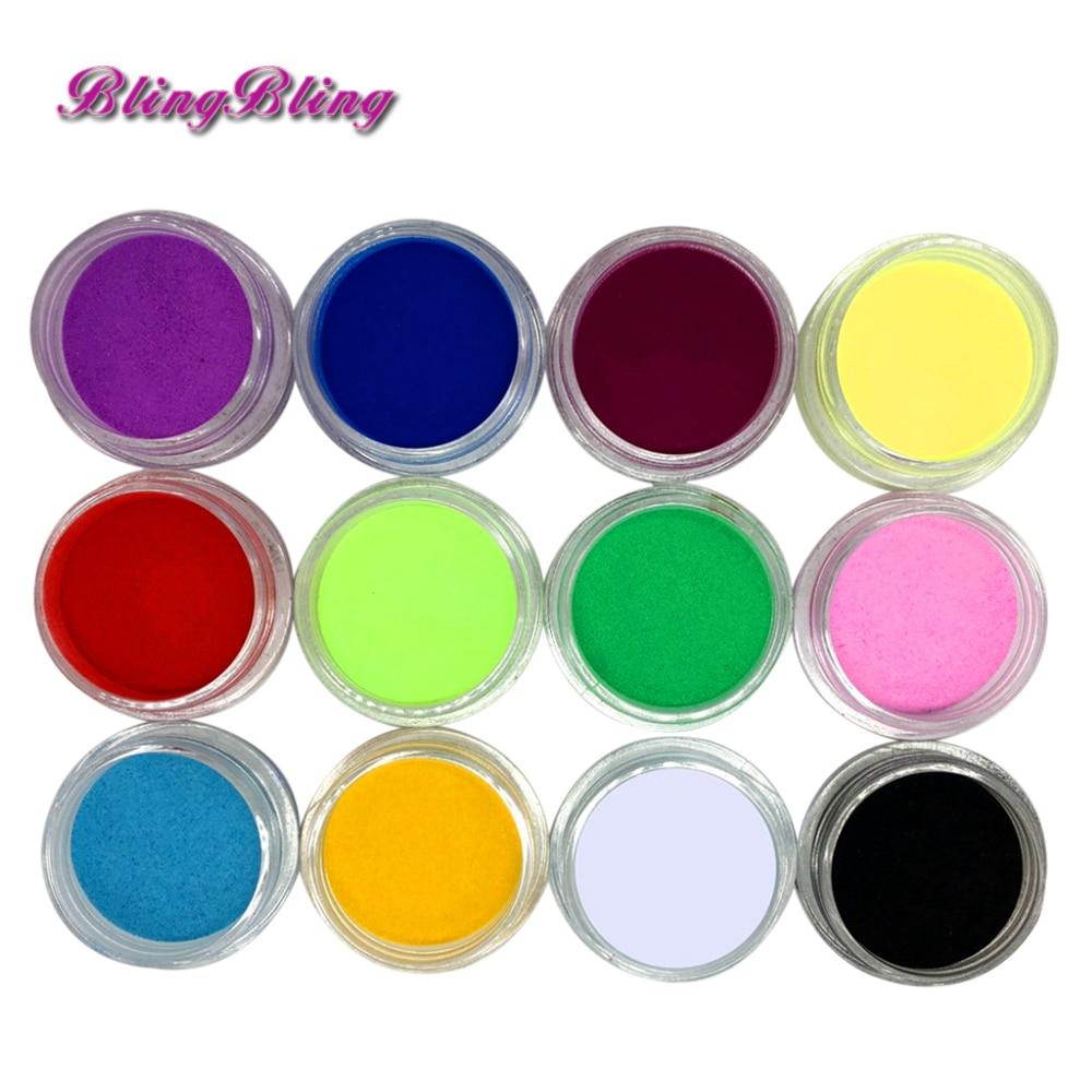 12 Pcs Mix cores acrílico unhas arte pó pó para decoração dicas