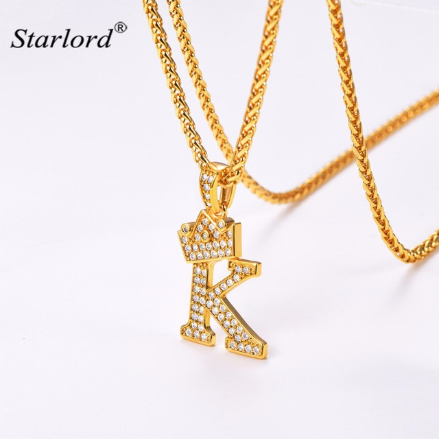 Crown Letter K Necklace Initial Necklace 26 Alphabet Jewelry Personalized  Gift Cubic Zirconia Letter Charm For Women/Men P3453K