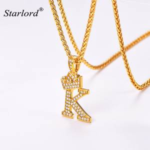 Crown Letter K Necklace Initial Necklace 26 Alphabet Jewelry Personalized Gift Cubic Zirconia Letter Charm For Women Men P3453k