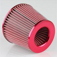 Air Filter Car Cold 75mm Dual Funnel Adapter 3 76 88 100mm Round Tapered Mini RED