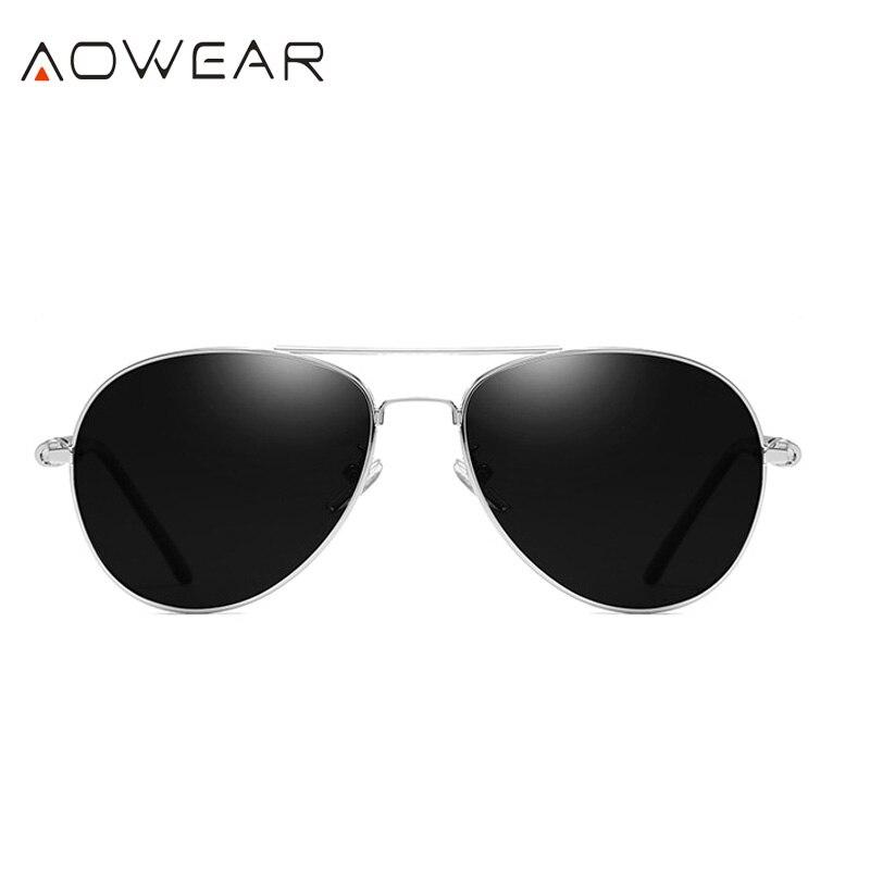 AOWEAR Брендовая Дизайнерская обувь Поляризованные солнечные очки в стиле пилота Для мужчин UV400 вождения очки с зеркальным покрытием линз, солнечные очки с Чехол Gafas De Sol - Цвет линз: C4 Silver Black