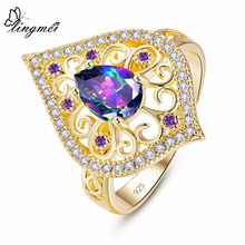 lingmei Women Men Fashion Wedding Jewelry Pear Cut Multicolor & Blue Purple Zircon Silver Yellow GoldPlated Ring Size 6 7 8 9