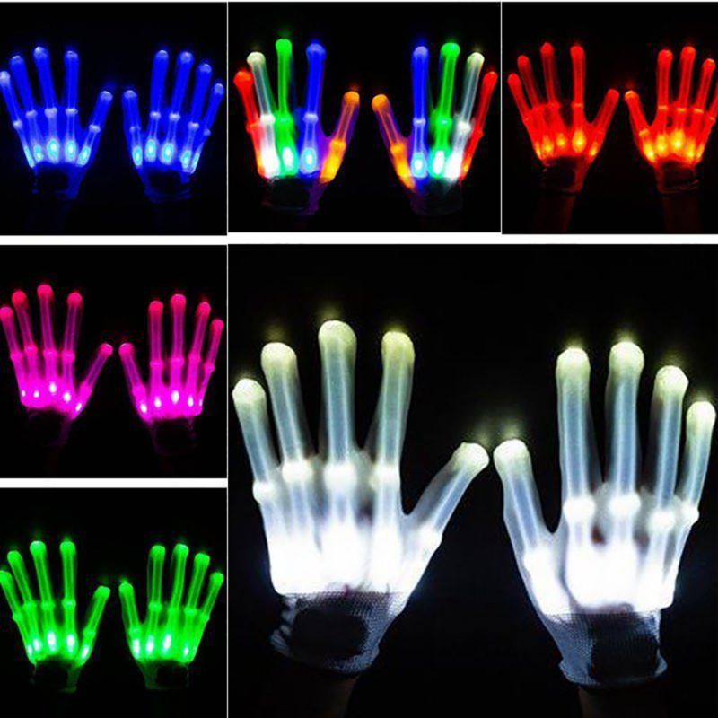 Pair Of Colorful LED Gloves Rave Light Finger Lighting Flashing Gloves Unisex Skeleton Glove