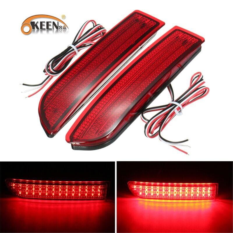 OKEEN 2 stücke 6 watt LED Stoßstange Hinten Reflektor für Toyota RAV4 2006-2012 PREVIA Alphard 2010-2012 schwanz Lichter Nebel Stop Parkplatz Lichter
