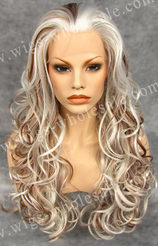 ФОТО Synthetic Lace Front WIg Heat Resistant Two Tone Ombre Synthetic Cosplay Wig Free Shipping