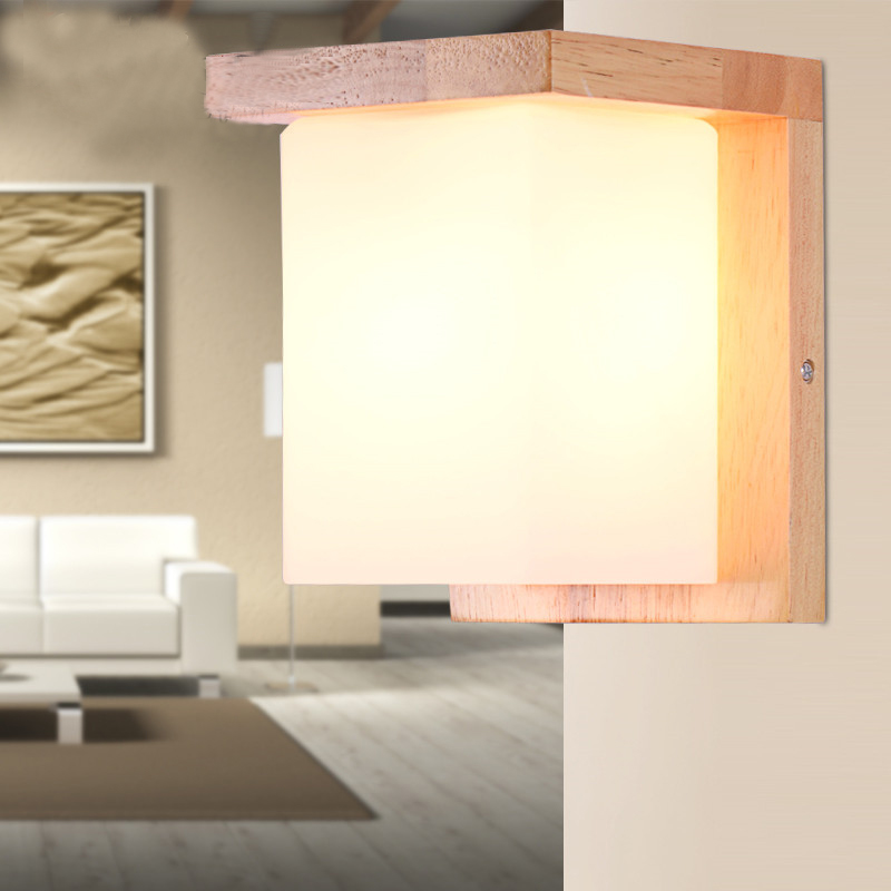 Loft American country glass lampshade wood wall lamp modern E27 AC 110V 220V LED sconce lights for living room bedroom coffee bedside wooden wall lamp wood glass aisle wall lights lighting for living room modern wall sconce lights aplique de la pared