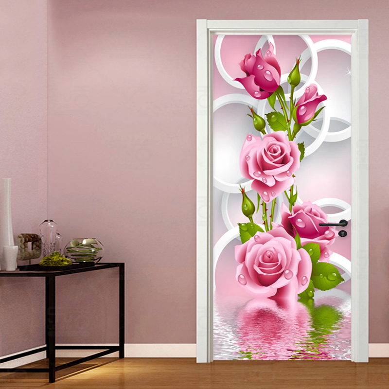 Door Sticker 3D Stereo Pink Flowers Circle Wallpaper Living Room Bedroom Abstract Art Vinyl Door Mural Self-Adhesive Home Decor
