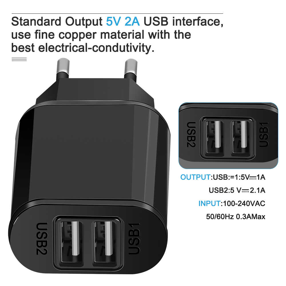 Universale Spina di UE 2 Porte USB Charger 5V 2A Parete Adattatore Caricatore Del Telefono Mobile Per il iPhone iPad Samsung A3 a5 A7 huawei honor 9 8