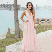 Elegant V Neck Lace Long Chiffon Bridesmaid Dresses 2018 Custom Made Wedding Guest Dresses Illusion Wedding Party Dress