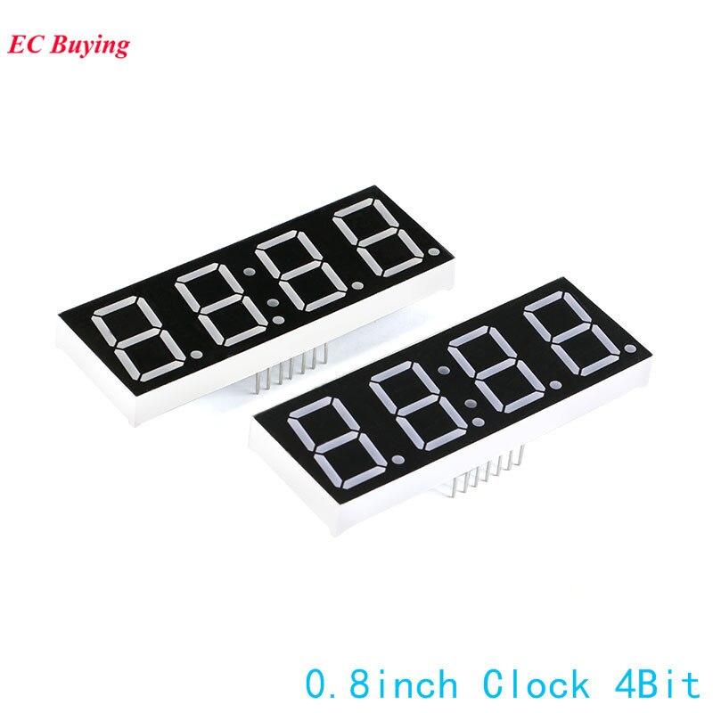 2 шт. 0.8 дюймов 4bit 7-сегментный Дисплей часы цифровой пробки Общий катод Сегмент красный светодиод DIY 7pin электронная доска