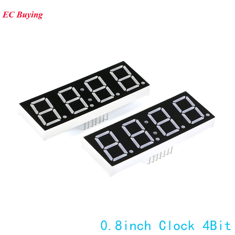 2Pcs 0.8 Inch 4Bit 7 Segment Display Clock Digital Tube Common Cathode Segment LED Red DIY 7Pin Electronic Board