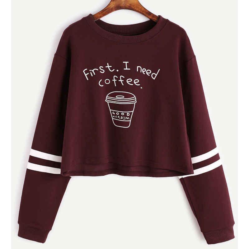 נשים סוודר קצר חמוד רקדנית בני נוער נוער Kawaii בגדי יבול סווטשירט למעלה מכתב הדפסת ראשון אני צריך קפה נשים גוויות