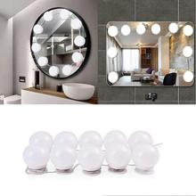LED Makeup Mirror Light Hollywood Bulb Bedroom USB Dimmable Wall-light 10 Bulbs Vanity Lamp