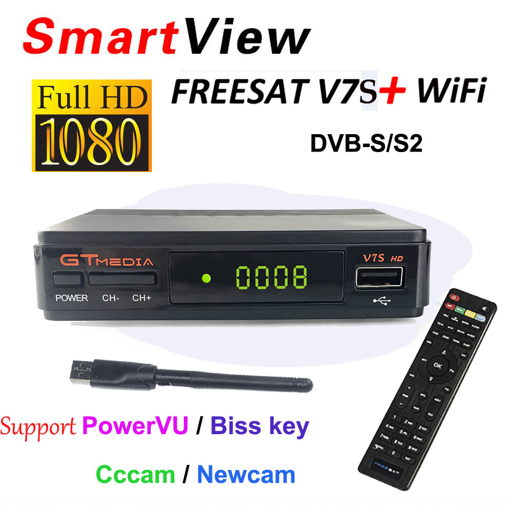 GTMedia V7S HD DVB-S2 receptor DVB S2 Satellite Receiver Full 1080P Support powervu Biss Key Decoder Set top box PK freesat V7 hello box gsky v7 dvb s2 box with latin america auto roll and powervu function support all n america