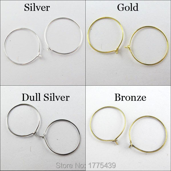10PCS Stainless Steel Gold Plated Ear Wire Lever Back Open Loop French Earring Hook Jewelry 14.5mmx12mm