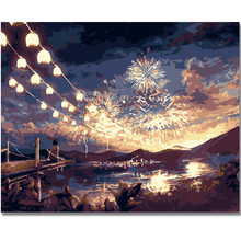 WEEN Fireworks night-Paint By Numbers Kit,DIY Oil Canvas Painting Number,Modern Home Decor Wall Picture,Acrylic Paint 40x50cm