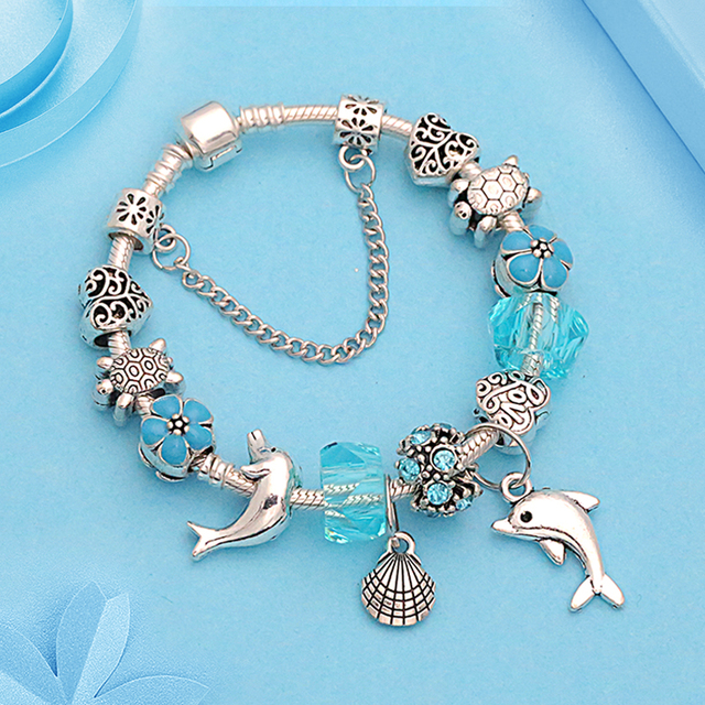 e417d0502 New Ocean Style Pandora Charm Bracelet Antique Silver Dolphin Shell Bracelet  Bangle Crystal Bead Bracelet for