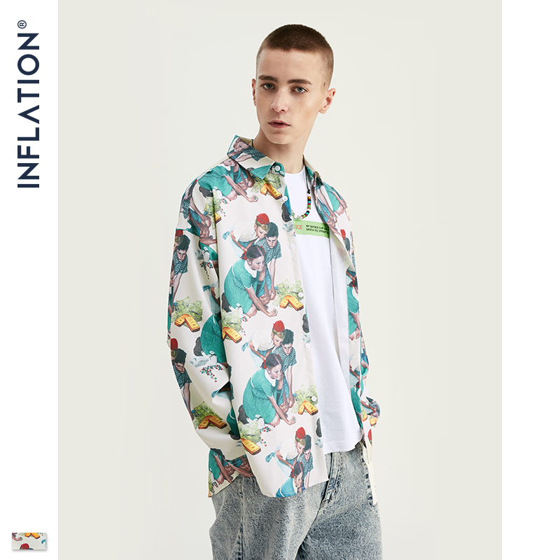 INFLATION Men 2019 Autumn Loose Fit Shirts Digital Printing Shirt Man Long Sleeve Shirt Oversized Men Brand Shirt  92145W