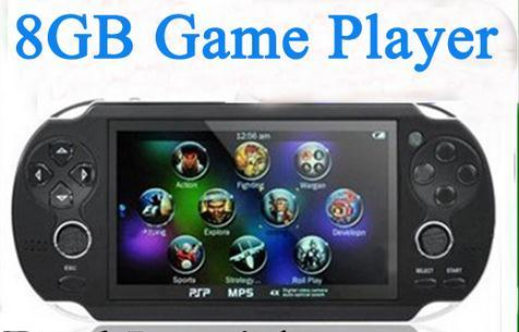¡ Venta caliente! Handheld del Juego mp5 mp3 mp4 Player Con Doble Palanca de mando de La Cámara FM Tv-out choque Portable Game Console 8 GB